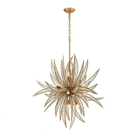 Crystal Orb Eleven Light Chandelier with Palm Sculpture Design with Glass Beading And Crystal  Matte Renaissance Eleven Light Chandelier