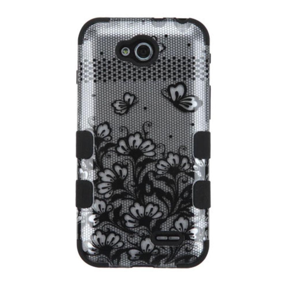 Insten Black Lace Flowers TUFF Hybrid Hard Phone Case Shell For LG D415 Optimus L90 - image 1 of 3