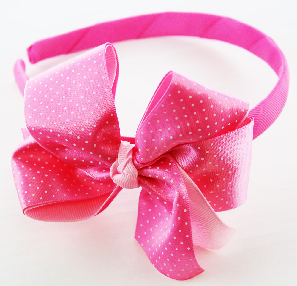 Fabric Wrapped Head Band w/Attached Light Pink/White Bow