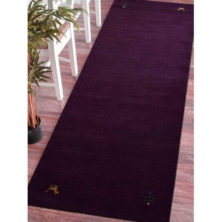Rugsotic Carpets Lori Knotted Woolen 5' 7'' x 7' 10'' Contemporary Area Rug Brown L00100-Color:Purple,Material:Wool,Shape:Runner,Size:2' 6'' x 10' (Gold Commercial Carpet)