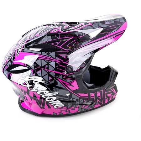 Cyclone ATV MX Motorcross Dirt Bike Quad Offroad Helmet, Youth Pink Closeout Mx Helmets