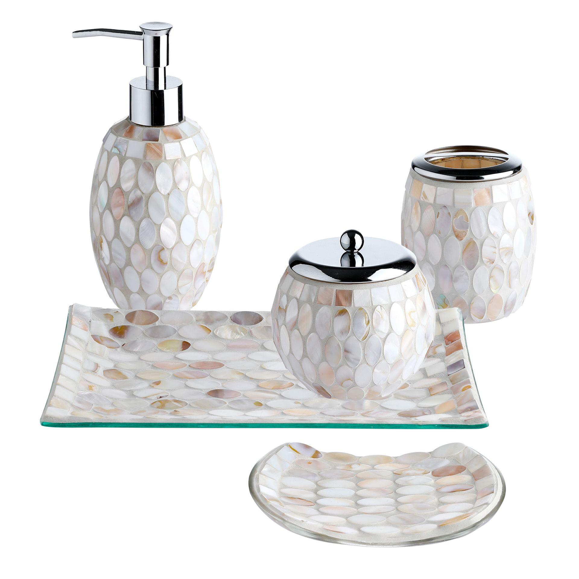 Cotton Jar Vanity Tray Soap Dish, Bathroom Soap Dispenser Set With Tray