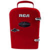 "RCA Mini Compact Refrigerator - Red RMIS129-RED - Manufacturer Refurbished RCA Mini Compact Refrigerator - Red RMIS129-RED Description: Keep snacks fresh with this retro-inspired cooler. It has room for your snacks and beverages so you can get you through your big study session or long day at the office. It's designed to easily fit where you need it on your desk, bookshelf or other handy spot. RCA Mini Compact Refrigerator - Red RMIS129-RED Features: Store snacks and beverages, 6 cans Fits easily on your desk, bookshelf or other handy spotHolds 6 cans or 4 litersRetro designLocking latch keeps items secureIdeal for dorms, drivers, cubicles, nurseries, or anywhere simple drink storage is needed.Its low noise motor works quietlyThe cooling capacity ranges from 59F-68FOverall dimensions: 10""(L) x 7""(W) x 10.5""(H)Compact see-through windowEconomical design consumes much less power than a traditional refrigerator; please allow 2 hours to reach optimal temperature"