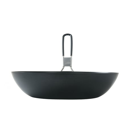 """Ozark Trail Non-Stick Carbon Steel 9.5"""" Frying Pan with Collapsible Handle, Black"""