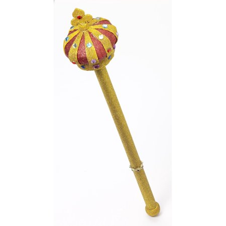 Kings Scepter (Deluxe New King Queen Glitter Gold Red Royal Maraca Costume)