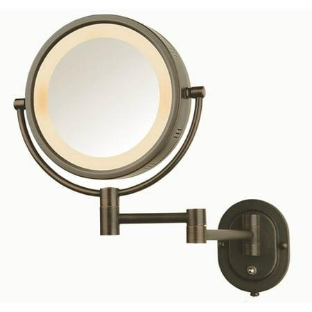 Jerdon 5X-1X Halo Lighted Wall Mirror Double Arm Bronze