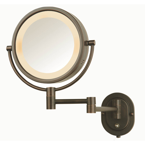 "Jerdon Hard-Wired 8"" 2-Sided Swivel Halo-Lighted Wall Mount Mirror with 5x Magnification, 14"" Extension, Bronze"