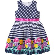 Girls' Easter Dress Floral Twin Print