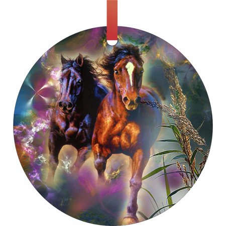 Christmas Horse Decorations.Horse Ornaments Christmas Running Horses Semigloss Flat Round Shaped Ornament Xmas Tree Christmas Decor Christmas Room Decor And Ornament Yard