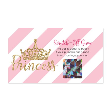 Little Princess Crown - Pink and Gold Princess Baby Shower or Birthday Party Scratch Off Cards - 22 Count (Baby Shower Scratch Off)