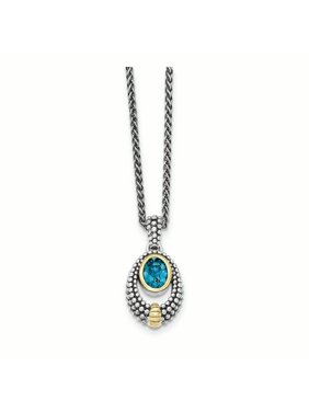 Sterling Silver w/Gold-tone Flash Gold-plated London Blue Topaz Necklace (Weight: 8.03 Grams, Length: 18 Inches)