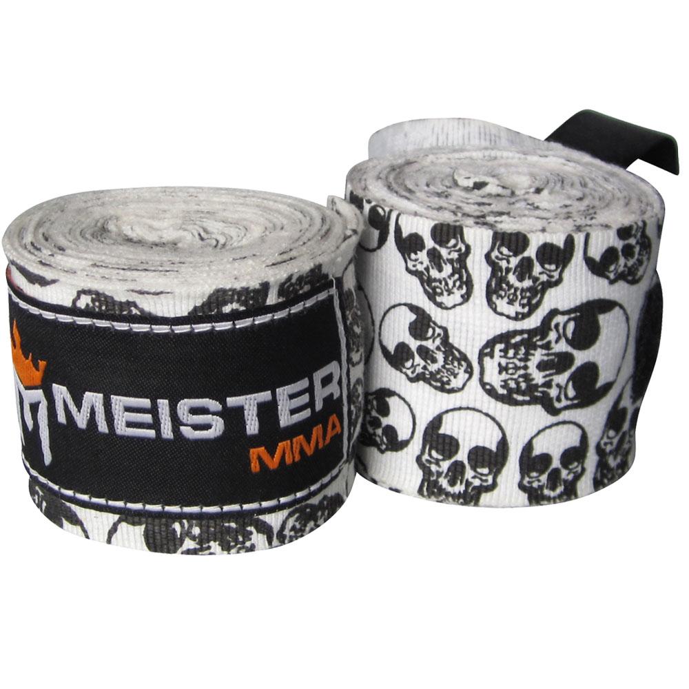 "Meister 180"" Semi-Elastic MMA Hand Wraps (Pair) - Death Skulls"