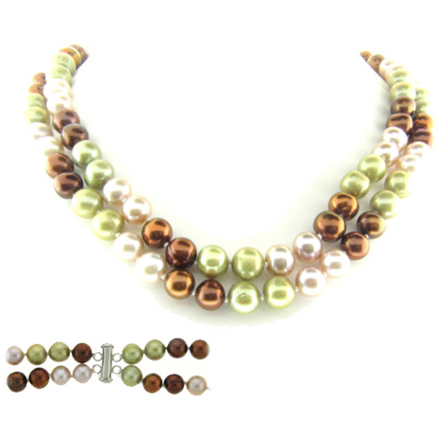 """Image of Green, Pink, and Chocolate Freshwater Pearl Necklace for Women, Sterling Silver 2 Row 17"""" & 18"""", 8mm x 9mm"""