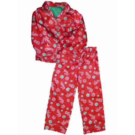 7aebd172f7 Candie s - Girls Silky Red Christmas Pajamas Candy Cane   Peppermint Sleep  Set - Walmart.com