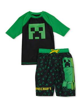 Minecraft Boys Short Sleeve Rash Guard Swim Shirt, UPF 50+ , Sizes 4-16