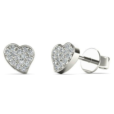 aaXia 10K White Gold 1/10ct TDW Diamond Heart Stud Earrings
