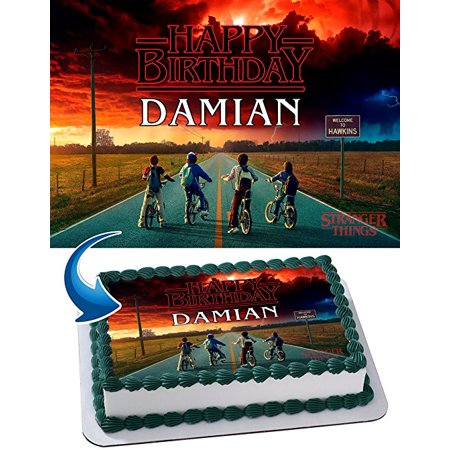 Stranger Things Edible Cake Image Personalized Birthday Topper Icing Sugar Paper A4 Sheet 1/4 STRGTH - Thing 1 And Thing 2 Birthday Party