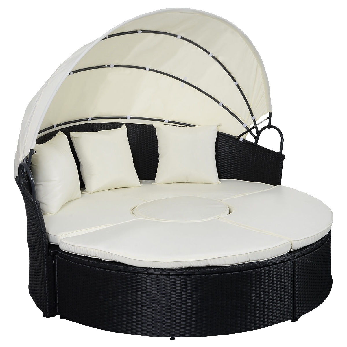 GHP Wicker Rattan Daybed Outdoor Patio Sofa Furniture Set with Retractable Canopy