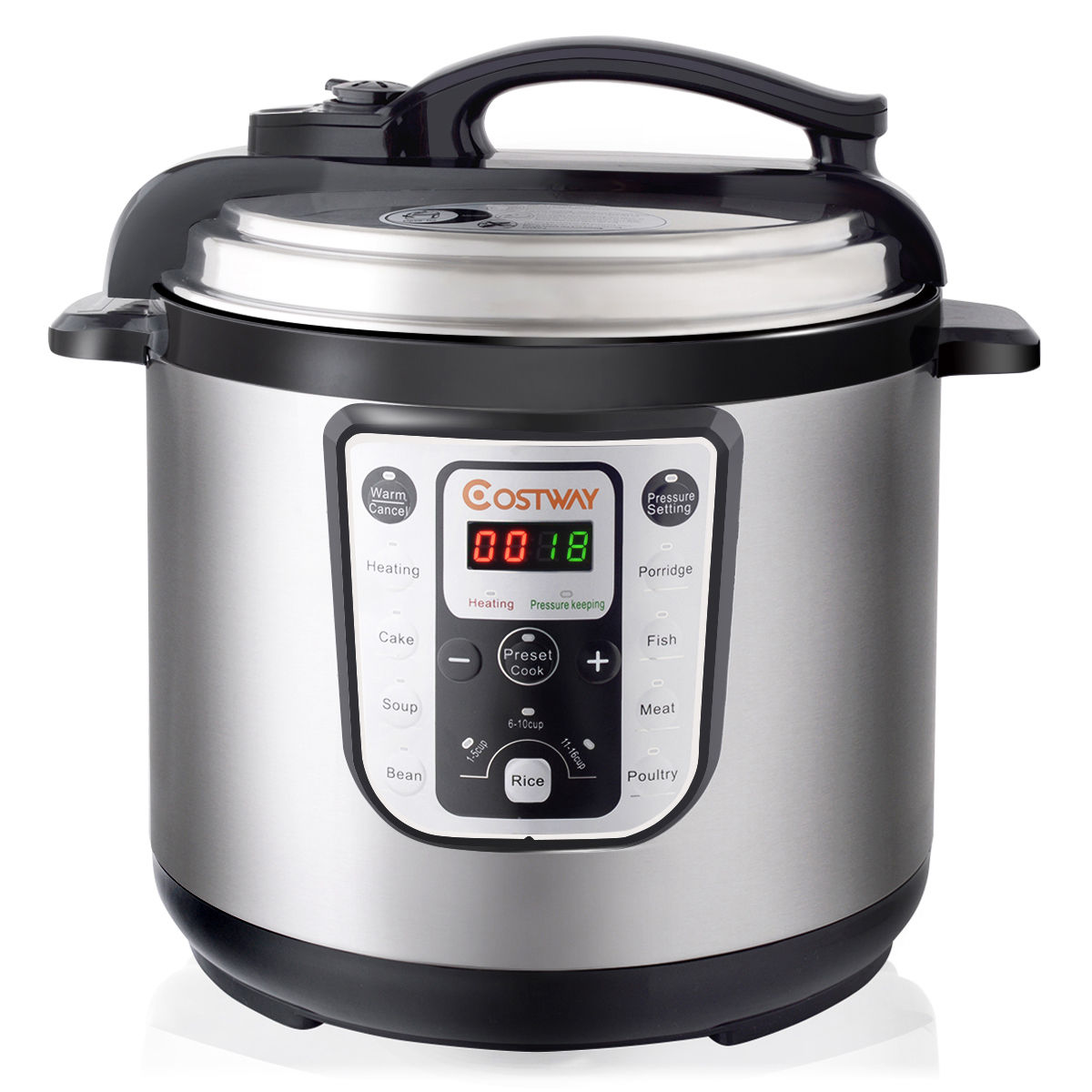 Costway 1250W 8 Quart Electric Pressure Cooker Programmable Multi-Use Stainless Steel