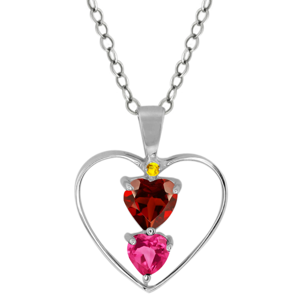 0.94 Ct Heart Shape Red Garnet Pink Mystic Topaz 18K White Gold Pendant by
