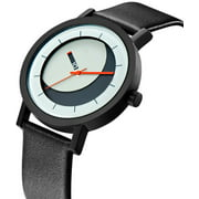Mens Lunaround Analog Stainless Watch - Black Leather Strap - White Dial - 7268