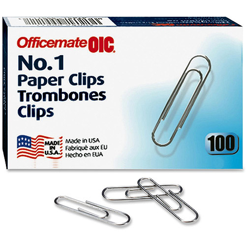 Officemate Standard #1 Paper Clips, 100 ct