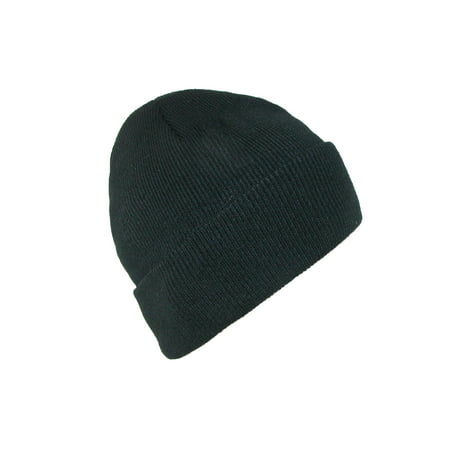 Size one size Men's Black Winter Stocking Knit Cuff Cap (Men Stocking Cap)