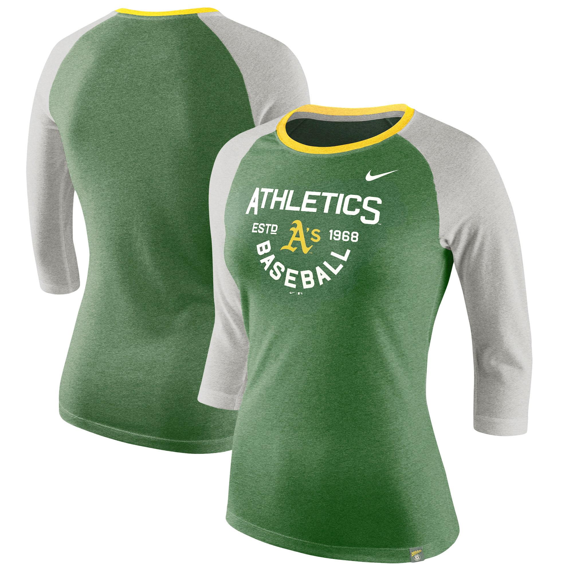 Oakland Athletics Nike Women's Tri-Blend Raglan 3/4-Sleeve T-Shirt - Heathered Green