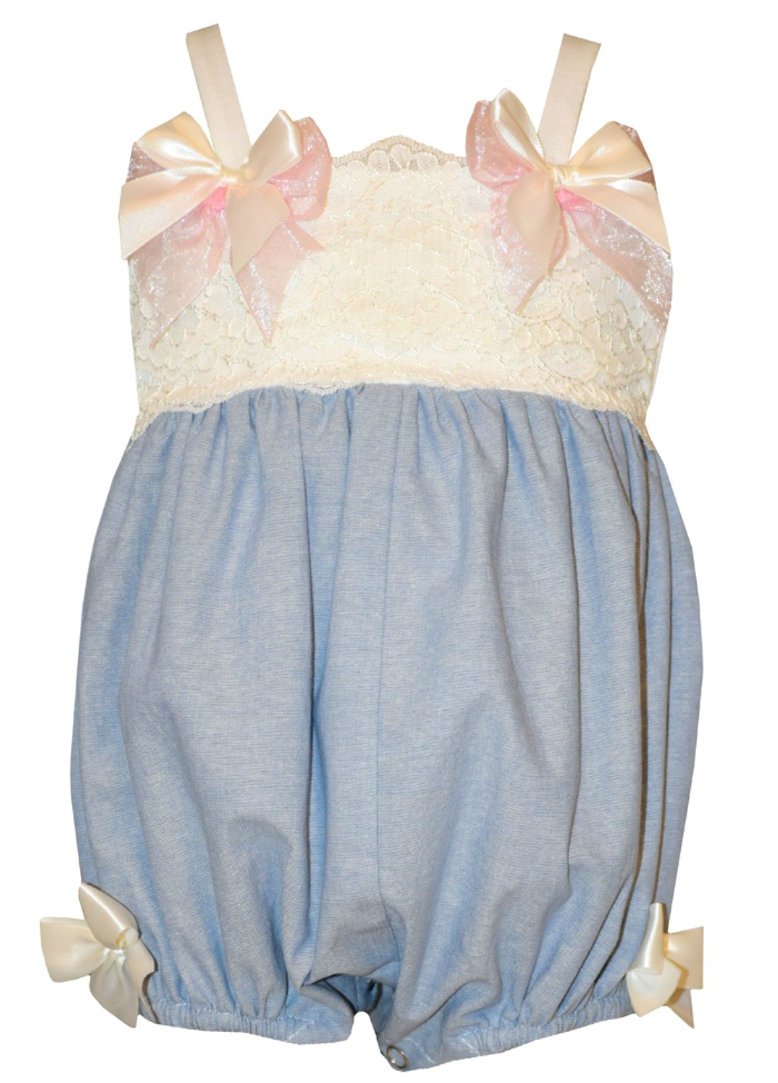 Bonnie Jean Baby Blue Chambray Bow Bubble 3-6 months