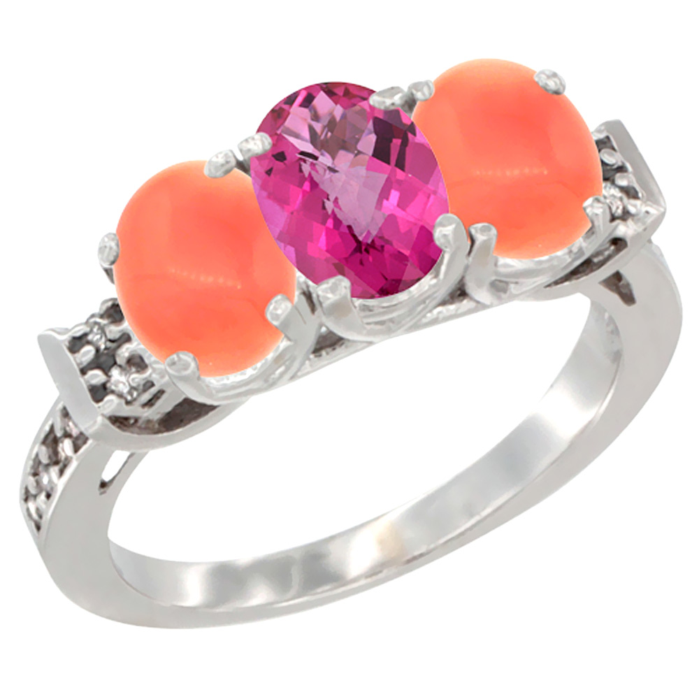 14K White Gold Natural Pink Topaz & Coral Ring 3-Stone 7x5 mm Oval Diamond Accent, sizes 5 10 by WorldJewels