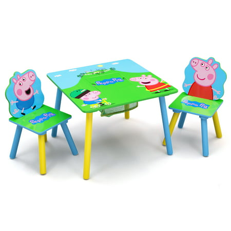 Peppa Pig Wood Kids Storage Table and Chairs Set by Delta - Peppa Pig Room Decor