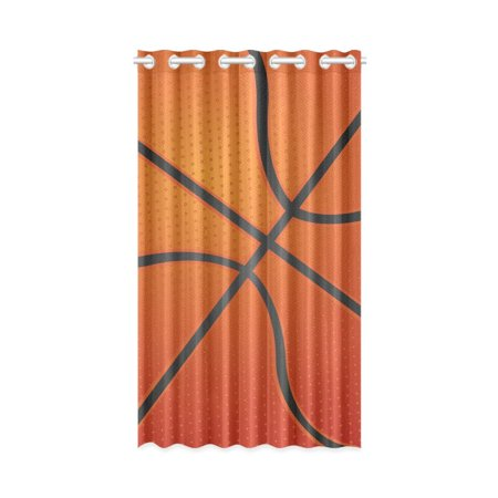 MKHERT Basketball Texture Window Curtain Living Room,Bedroom Window Drapes 52x84 inch
