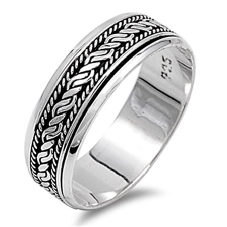 Men Women 925 Sterling Silver 7mm Oxidize Finish Braided Rope Design Spinner Ring