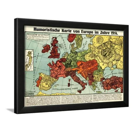 Humoristische Karte Von Europa 1914.Satirical Map Humoristische Karte Von Europa Im Jahre 1914