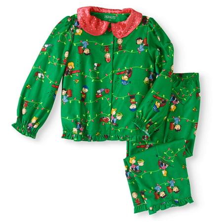 Toddler Girls Holiday Button Front Pajamas 2pc Set