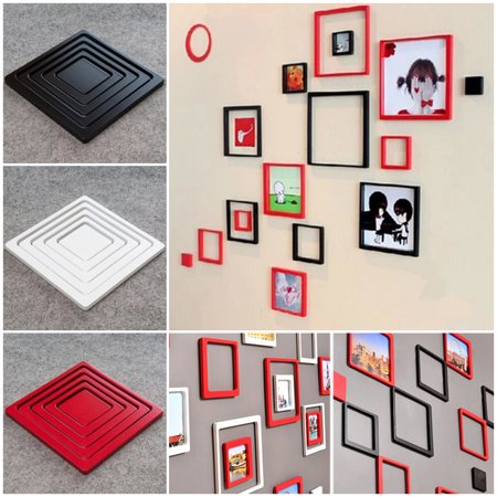 5Pcs DIY 3D Photo Frame, Justdolife Self Adhesive Wooden Wall Sticker Picture Frame Sets for Home Decor Red (6.50*6.50in)