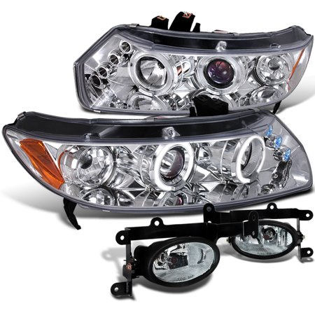 Spec-D Tuning 2006-2008 Honda Civic 2Dr Halo Led Head Lights + Fog Lamp Clear (Left + Right) 2006 2007 -