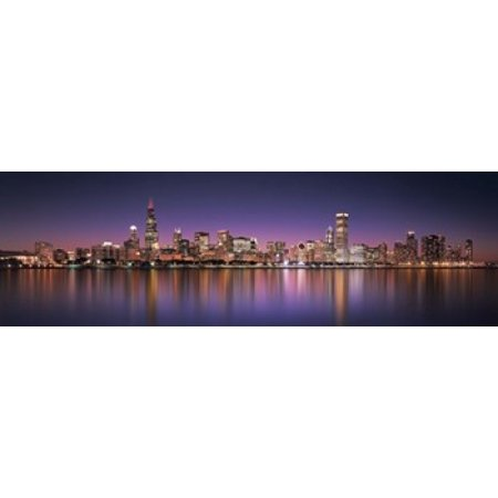 Reflection of skyscrapers in a lake Lake Michigan Digital Composite Chicago Cook County Illinois USA Canvas Art - Panoramic Images (18 x 6)](Halloween Usa Michigan)