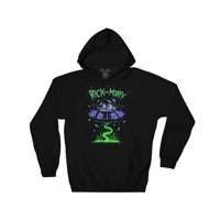 Ripple Junction Rick and Morty Adult Unisex Ship Dumping 3 Color Pull Over Fleece Hoodie Black