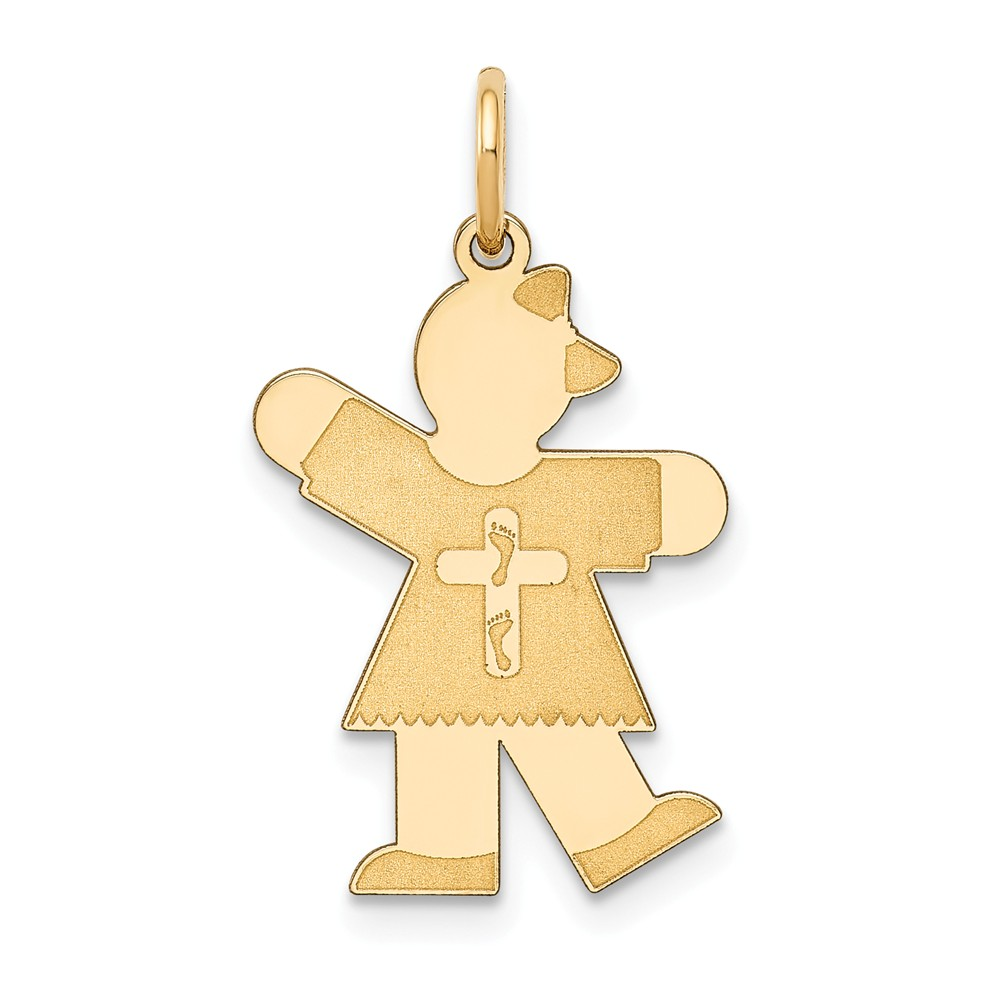 14k Yellow Gold Kid Charm (1in long x 0.6in wide)