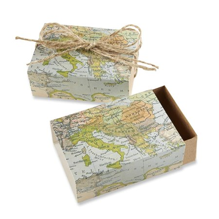 Around The World Map Favor Gift Box Wedding Party Decorations Set