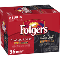 Folgers Classic Roast & Black Silk Ground Coffee K-Cup Pods, Variety Pack, 36-Count
