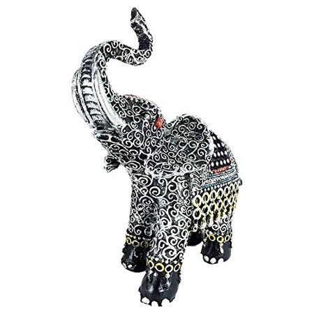 Thai Buddhism Silver Grey Pattern Decorated Trunk Up Elephant Figurine Sculpture