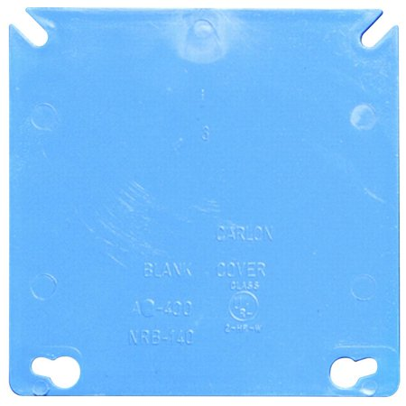 Carlon A400R-CAR Square Blank Electrical Box Cover, 4 in L, Blue PVC