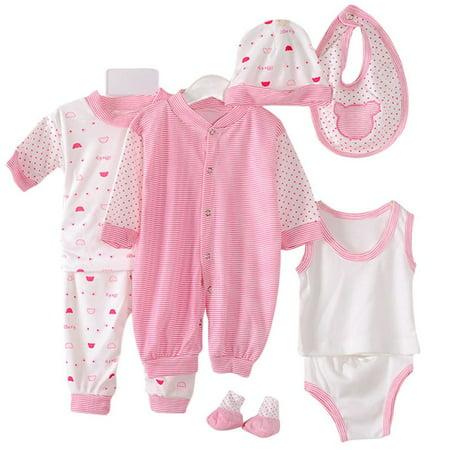 Enjoyofmine Newborn Baby Cotton Girls 8 Piece Layette Baby Shower Gift - Girl Baby Shower Gifts