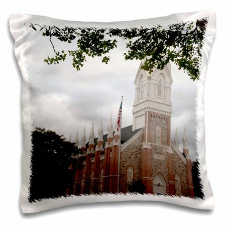 3dRose The Brigham City Tabernacle framed by green leaves of a tree - Pillow Case, 16 by 16-inch