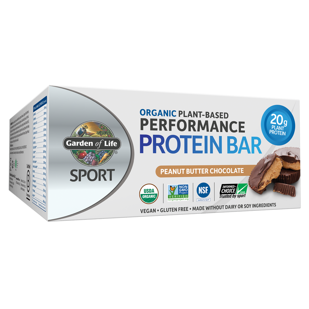 Garden of Life SPORT Bar, Peanut Butter Chocolate, 20g Protein, 12 Ct