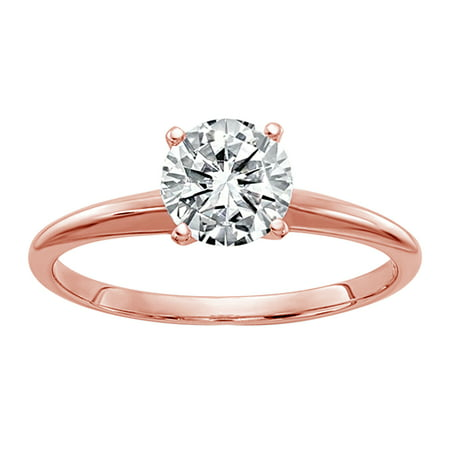 14k Rose Gold Round (IGI) Certified Diamond Solitaire Engagement Ring (E/VS2- 0.18Cttw)