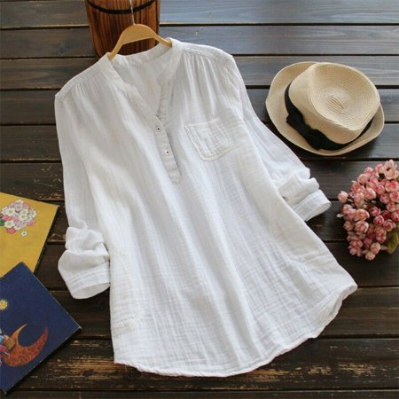 Women Retro V Neck Long Sleeve Casual Loose Baggy Tunic Tops Blouse Plus Size S White