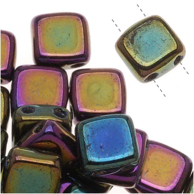 Czech Glass 2-Hole Square Beads 6mm 'Purple Iris' (1 Strand)